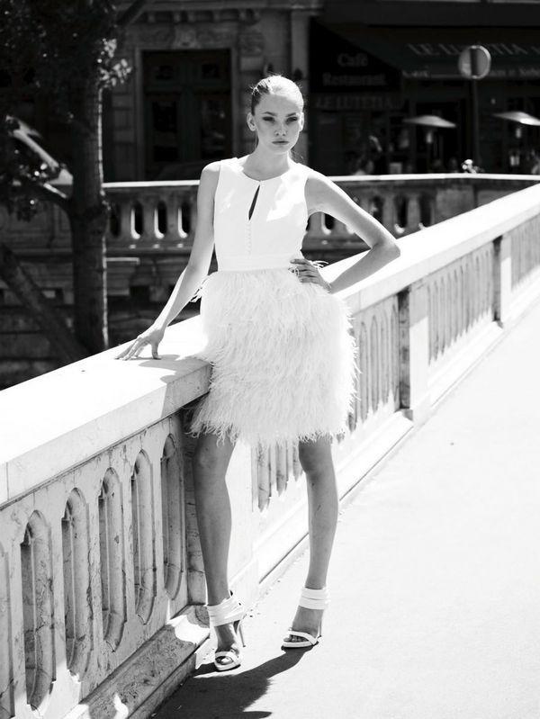 Liking feathery anything. Ugo Zaldi dress.