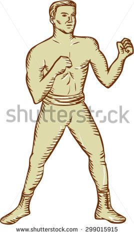 Etching engraving handmade style illustration of a vintage boxer fighter pose posing viewed from front set on isolated white background done.