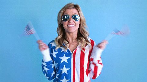 yes usa celebrate yay 4th of july fourth of july american flag woohoo wee merica patriotic tipsy elves tipsyelves red white and blue yipee flag wave