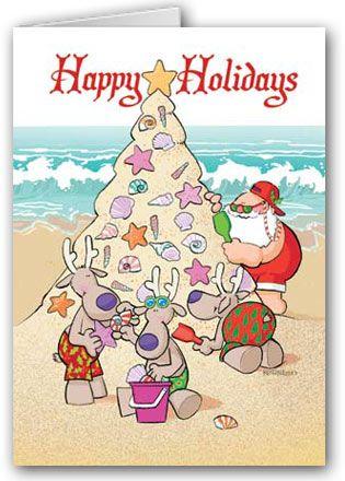 Beach Christmas Tree Boxed Christmas Cards