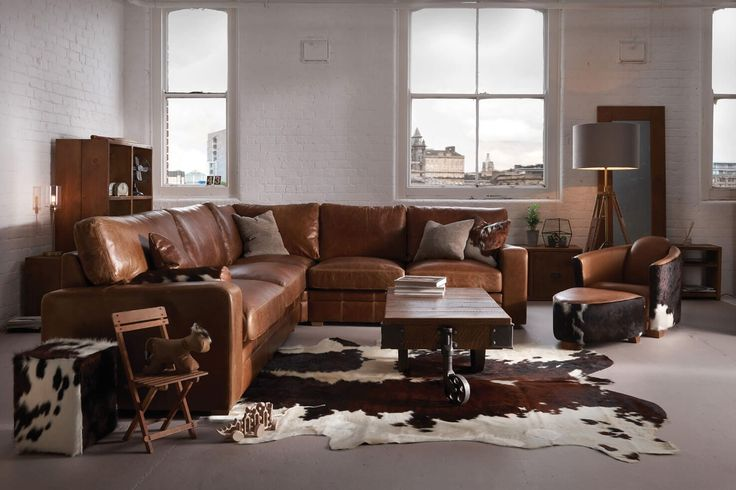 The Square Arm Leather Corner Sofa by Indigo Furniture
