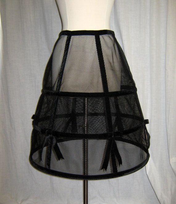 Escarpado del acoplamiento negro falda crinolina de aro con cinta de terciopelo negro y arcos tamaño pequeño-mediano