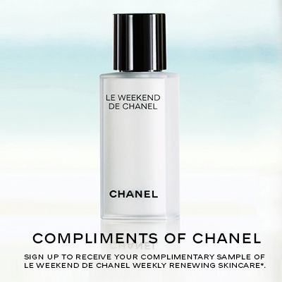 Get a Free Sample of LE WEEKEND DE CHANEL Weekly Renewing Skincare. Follow the link and fill out a short form to get your free sample. (US Only. Ends 9/30/15 or while supplies last.)