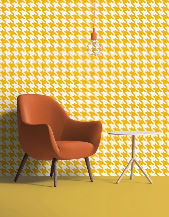 Pop Pied de poule #wallpaper in yellow. Buy on www.mrmanu.com