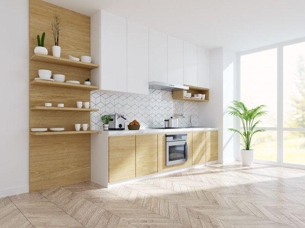Modern Kitchen White Room Interior In 2021 White Modern Kitchen Modern Kitchen White Kitchen