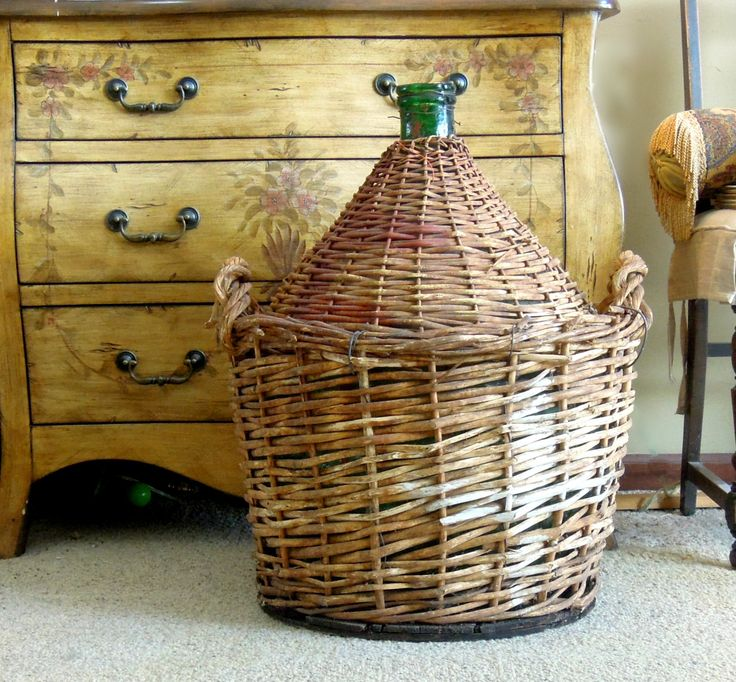 Vintage Demijohn Dame Jeanne / Wrapped in Woven Wicker / Extra Large Italian Demijohn / Wine Bottle by AloofNewfWhimsy on Etsy