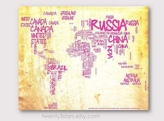 World Map Typography Map 8x10 Print, Choose Your colors, Typographic Atlas Art with Country Names word art shown in ivory yellow and pink