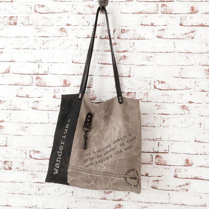 Grand sac vintage entièrement façonné à la main. Toile de coton et lin, SO WANDERLUST !!!