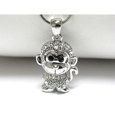 naughty monkey pendant charm sterling silver