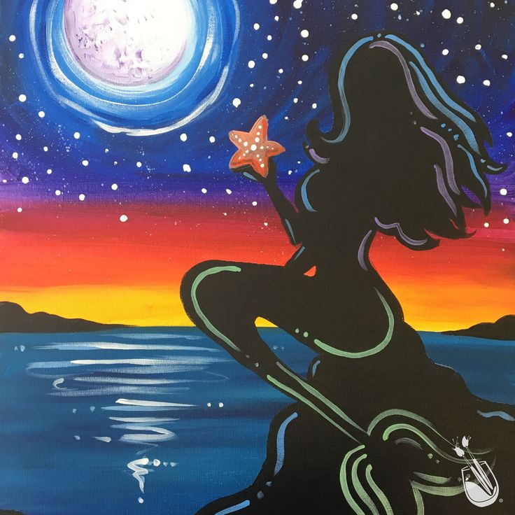 "[NEW ART]  #Summer Nights fill our hearts with shiny #stars, #fireflies and full #moons. #Paintingwithatwist  ""Moonlit Mermaid""   If you would like to join us to paint this art, click the pin to find a location near you. There, you will find the calendar for that studio. If the art is not available, feel free to send the studio an emailed request."