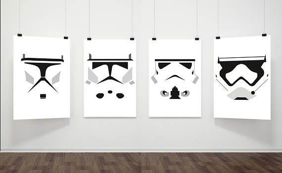 Star Wars Inspired Poster Print | 4 Set Digital Download | Storm Trooper | Clone Helmets | Wall Art | Videogame Art | Minimalist