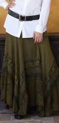 long flowy skirts love the belted shirt with it. Maybe a 3/4 length sleeve rather than full.