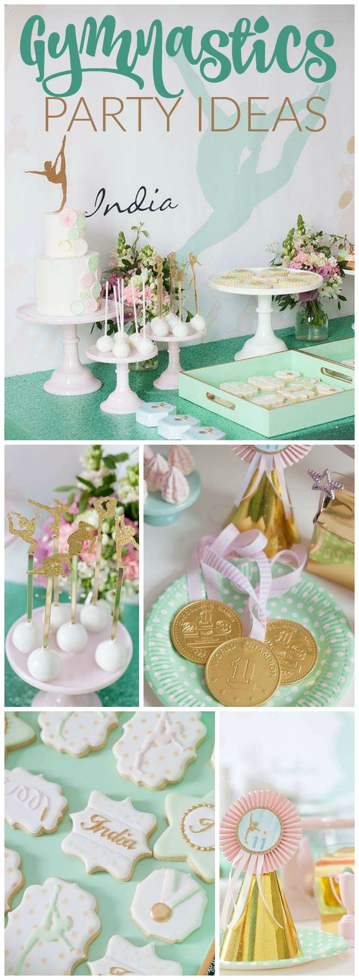 What a pretty mint and gold gymnastics party! Check out the favors on slide 10! See more party ideas at CatchMyParty.com!
