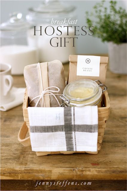 Hostess gifts: Breakfast basket - homemade banana bread, butter, coffee in a towel-lined basket; Crusty bread from the bakery w/ olive oil & sea salt wrapped in a dish towel; fresh herbs growing in a mug; cutting board with fish spatula and thyme sprig or loaf of bread and dipping oil.