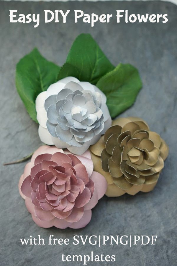Simple Diy Home Decor Flowers With Free Svg Templates Paper Flowers Diy Easy Paper Flowers Paper Flowers Diy