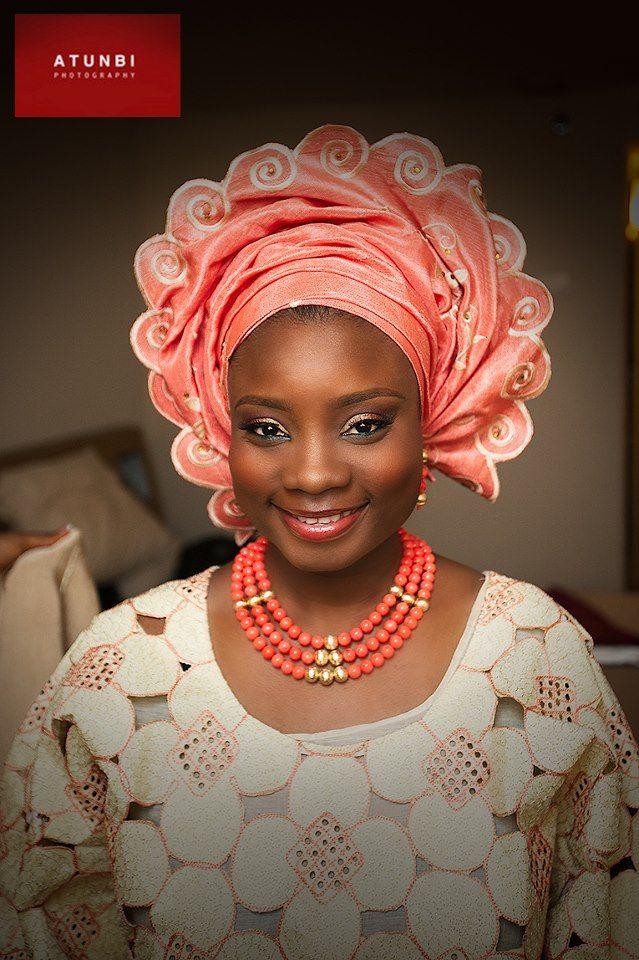 Nigerian bride, just love the pattern of that gele(head wrap).