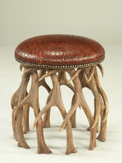 Shop for Maitland Smith Faux Elk Horn Footstool Faux Crocodile Leather Rust Nailhead Trim and other Living Room Stools at Englishmans Interiors in