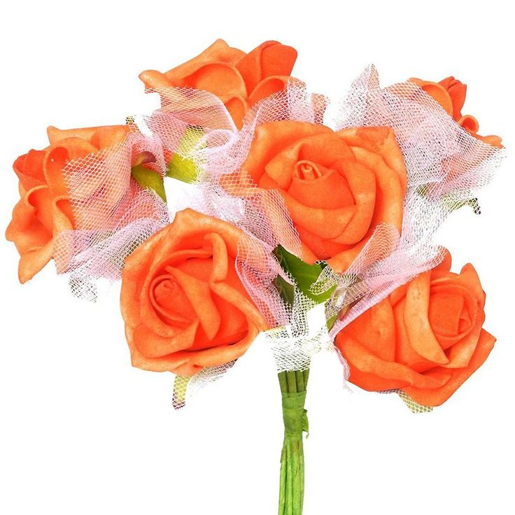 72 x SPECIAL EDITION Tres Beau Silk Roses - Orange |  Aptly named Tres Beau, a French word for Beautiful, our foam roses provide you much superior and refined version of artificial flowers. Made from high quality Styrofoam, these faux blooms will continue having a perfect shape, displaying perpetual bloom forever. Wired stem is swathed with green ribbon to give a realistic stem look. Bendable wired stem can easily be wrapped around baskets, boxes, or can be twisted into different crafts to…