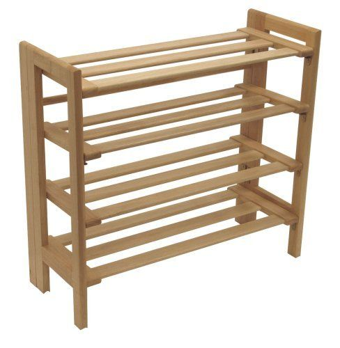 Winsome Wood Foldable 4-Tier Shoe Rack, Natural by Winsome Wood. $45.99. Crafted of solid beechwood with natural finish. Holds up to 19 pairs of shoes for an organized closet. Foldable 4-tier shoe rack is stackable and stores flat. Slatted shelves and open sides offer light, airy look. Measures 27.8-inch wide by 11-1/2-inch deep by 25.9-inch high. Amazon.com Oh, shoes...how they seem to multiply every time you look in the closet. (Not to mention after a good ...