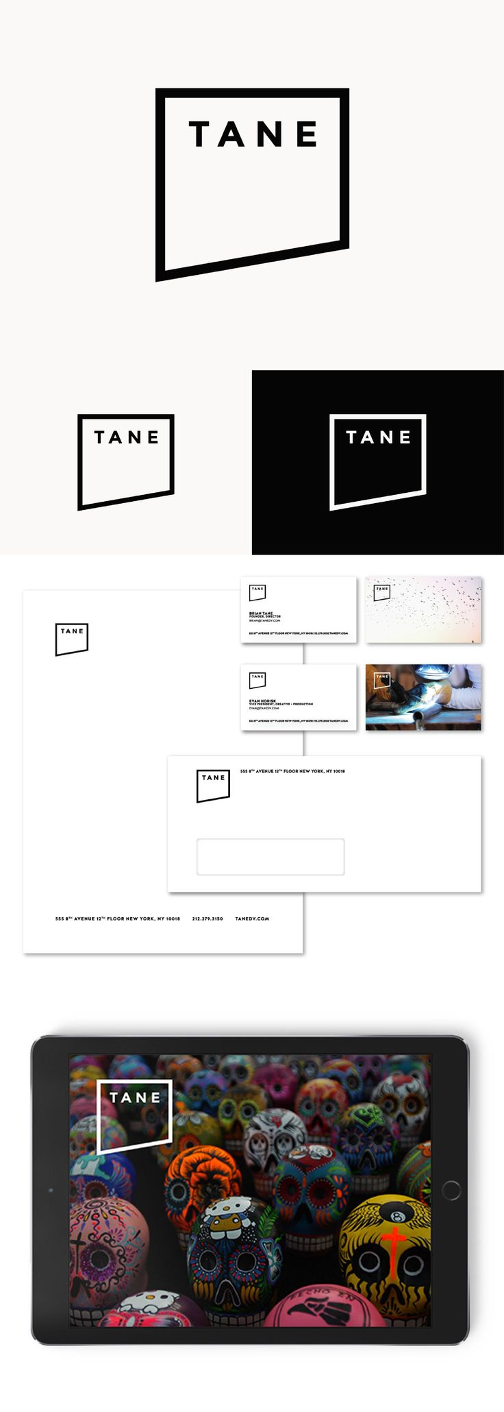 "Logo rebranding and new visual identity system for NY-based digital video agency: a film frame has been artistically cut off to create a bold logo mark, while ultra minimal approach helped the stationery to focus on featuring the studio's very own work (e.g. each business card has a unique ""frozen film frame"" background)"