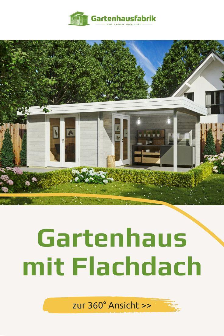 Helles Und Modernes Gartenhaus Mit Flachdach Gartenhaus Haus Flachdach Gartenhaus