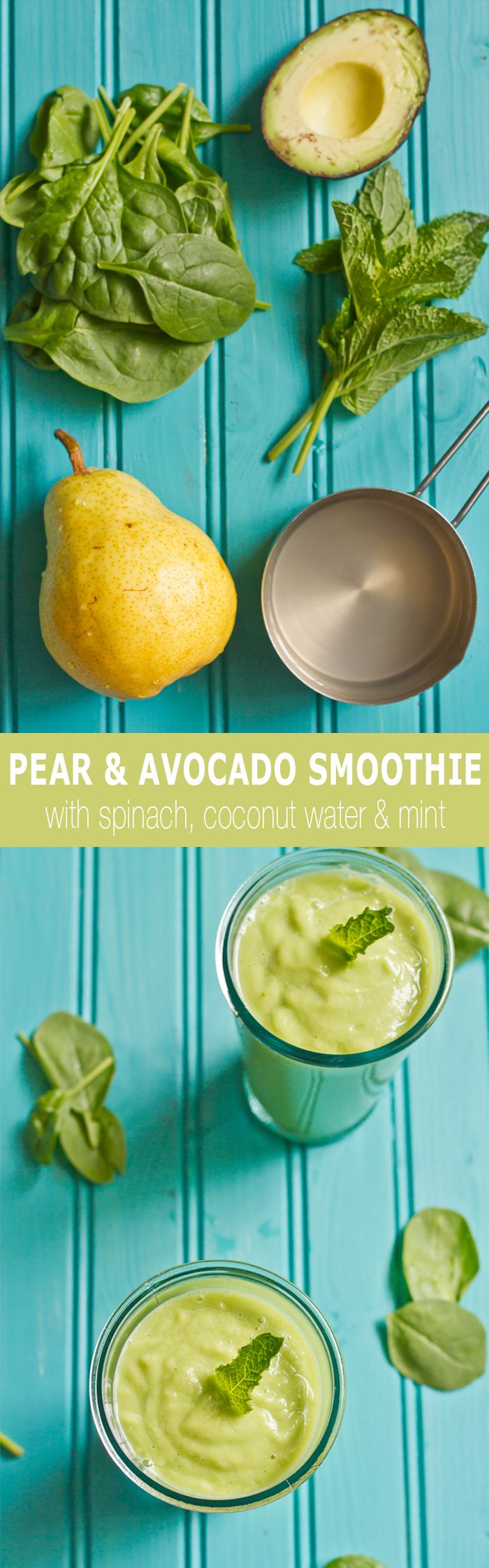 Power Punch pear and avocado smoothie recipe featuring spinach, pear, avocado, coconut water and mint
