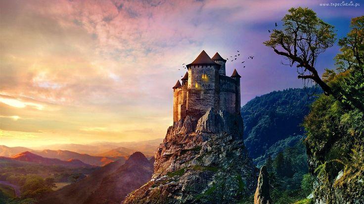 Góry, Wschód, Słońca, Zamek