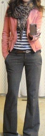 Gray trousers, striped tee, pink blazer, leopard scarf.