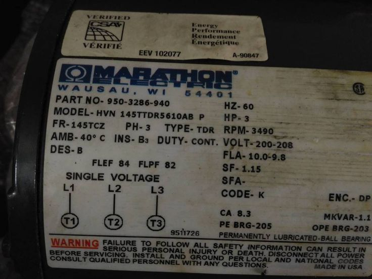 Marathon Electric 950-3800-941 / 145TTDR5610AB used with PENTAIR Aurora Pump G05 135 AB