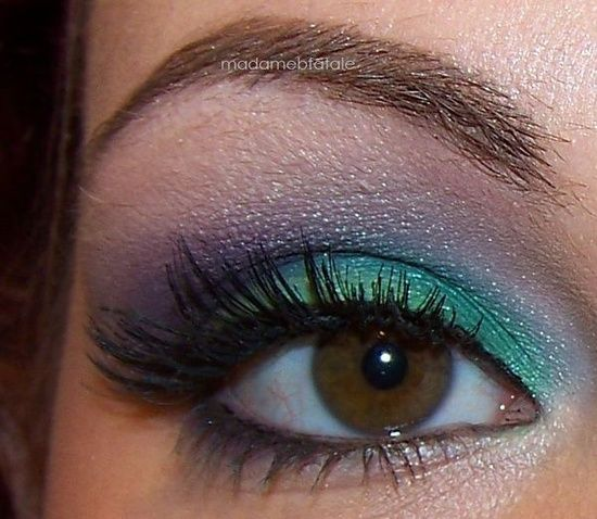 DIY Aqua and Purple Eye Shadow