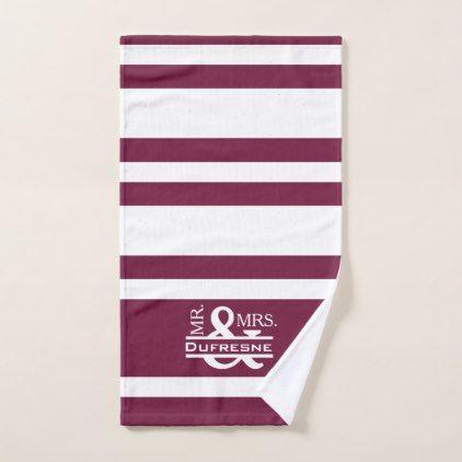 Personalized Mr & Mrs Purple Hand Towel - anniversary cyo diy gift idea presents party celebration