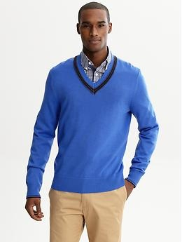 Pair A Collared Shirt Under Your V Neck Sweater Business