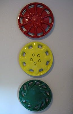 Spray hubcaps red, green, yellow!   Children's playroom!
