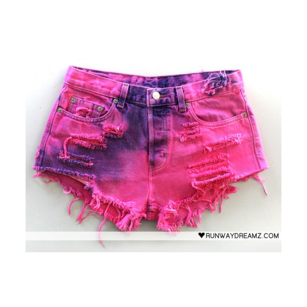 findingneverland: dip dye, tye dye shorts obsession, idea for final shorts! found on Polyvore