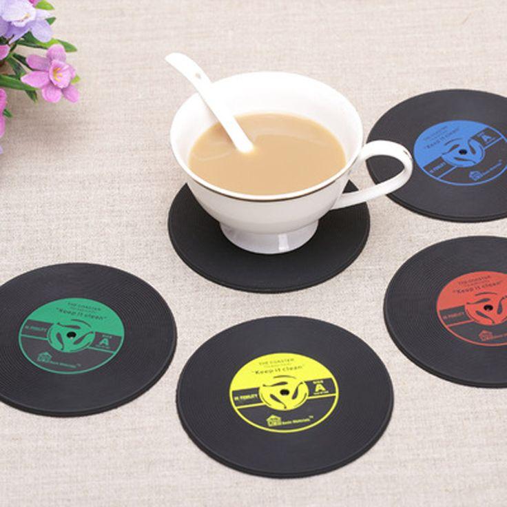 4 Stks/set Thuis Tafel Cup Mat Creative Decor Koffie Drink Placemat voor tafel Spinning Retro Vinyl CD Record Drankjes onderzetters