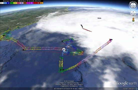 """Over the years, we've shown you a variety of great ways to use Google Earth to track hurricanes. While much of that data comes from weather satellites, some of it comes from """"hurricane hunters"""" that fly into the storms to pick up detailed conditions that can be used to help predict the path of the storm."""