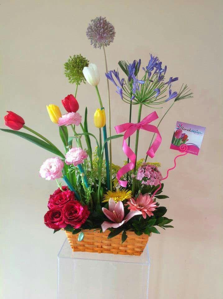 Arreglo colorido flores finas