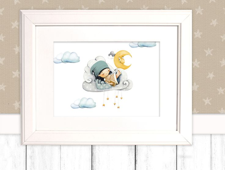 """Kinderbild """"Wolken"""" für Jungen u. Mädchen  Poster von Pipapier auf DaWanda.com"""