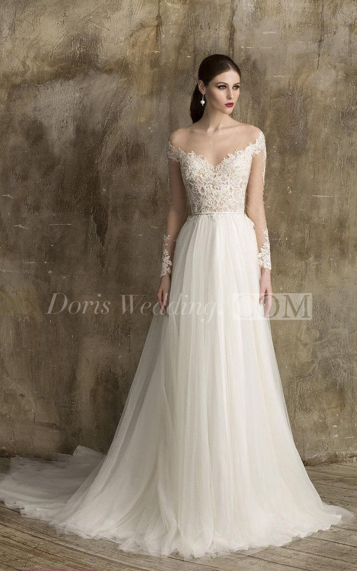 US$135.04  -V Neck Lace and Tulle A Line Lace Wedding Dress With Sleeves | Best Wedding Dress 2015 | Affordable Lace Wedding Dress | White Dress for Brides http://www.doriswedding.com/v-neck-lace-and-tulle-a-line-dress-with-illusion-back-and-lace-bodice-pET_711348.html #DorisWedding.com
