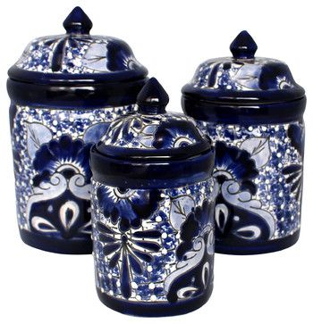 Talavera Canister Set, Blue U0026 White, Handmade Rustic Food Containers And