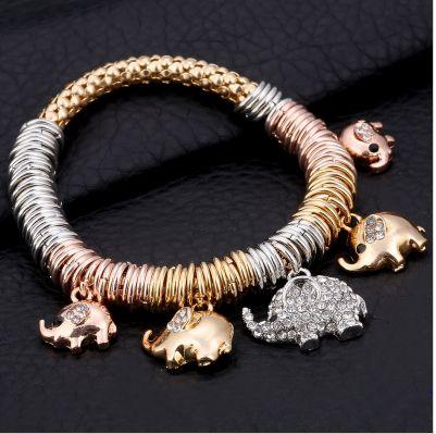 Trendy Trigold colored Elephant Charm Bracelet