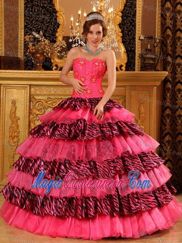 Hot Pink Dresses Quinceanera with Zebra Print Ruffles in Puerto Rico ... 19c8590fb