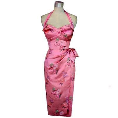 Whirling Turban pink Chinese brocade wrap wiggle dress