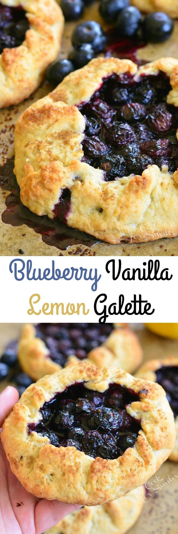 Blueberry Vanilla Lemon Galette. A PERFECT, aromatic, EASY, and delicious dessert for any warm evening. #pie #desserts