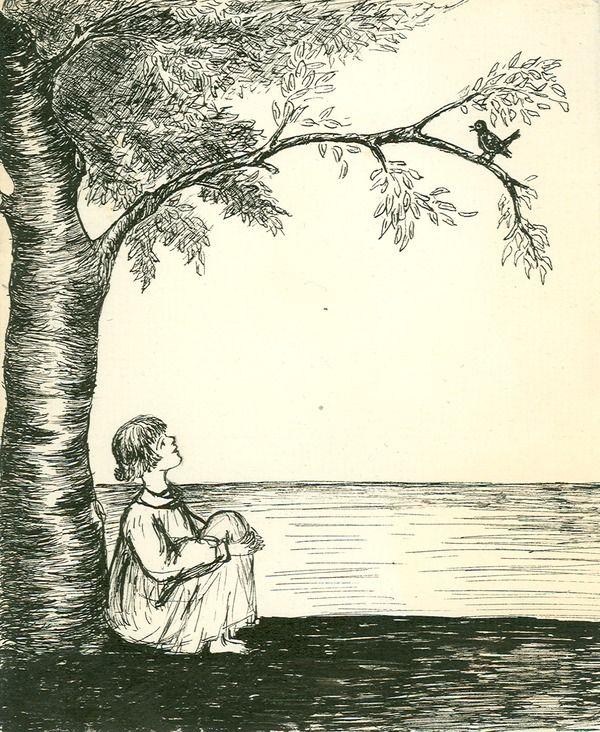 [Drawing of girl sitting under tree looking at bird] | saskhistoryonline.ca