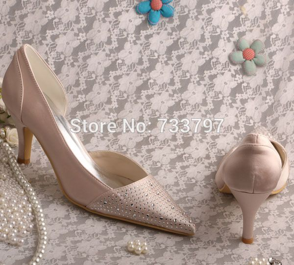Wedopus Custom Handmade Nude Satin Pointy Toe Mid Heel Evening Shoes Bridal  with Crystal fcd02b2403e1