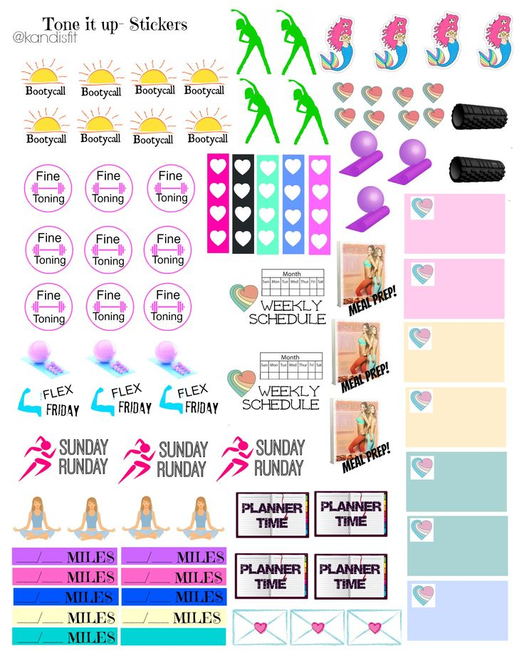 Free Printable Fitness Planner Stickers from Kandi's Fit
