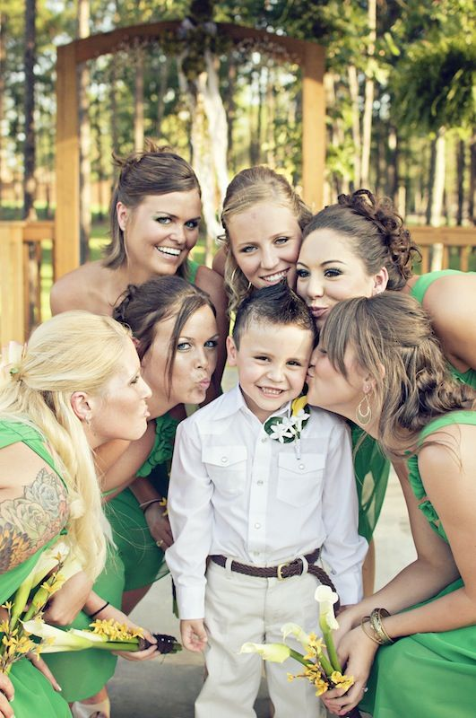 bridal party with the ring bearer - such a cute idea!