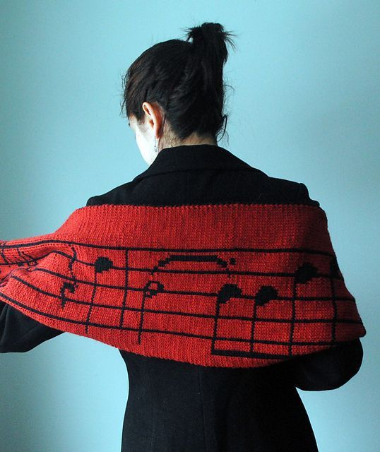 Worsted weight double knit pattern: Stacy's Musical Scarf by Kalliopi Aronis