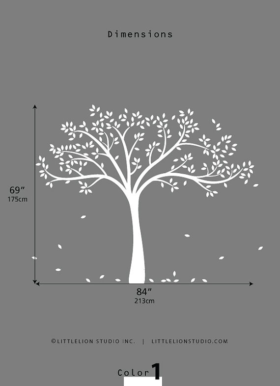vinyl tree wall decal = backdrop for family tree photo collage (need: in black)